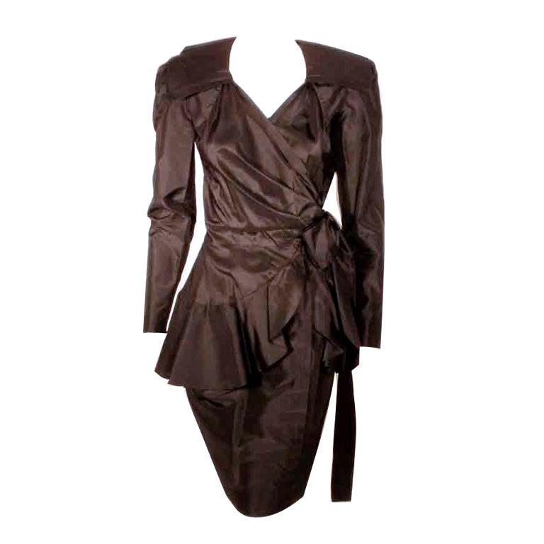 Adolfo Black Silk Wrap Dress For Sale