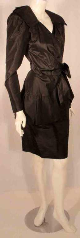 Women's Adolfo Black Silk Wrap Dress For Sale