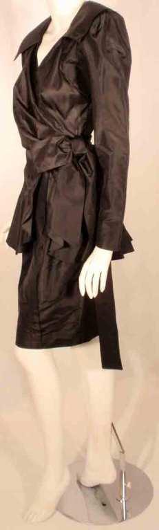 Adolfo Black Silk Wrap Dress For Sale 1