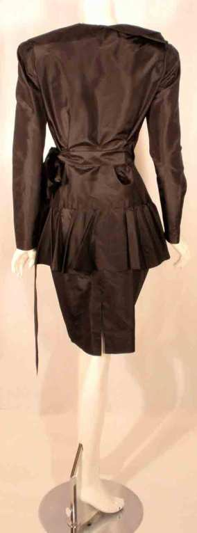 Adolfo Black Silk Wrap Dress For Sale 3