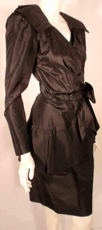 Adolfo Black Silk Wrap Dress For Sale 4