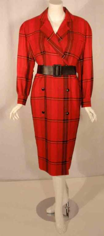 Courreges Red Plaid Wool Double Breasted Dress  For Sale 6