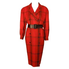 Courreges Red Plaid Wool Double Breasted Dress