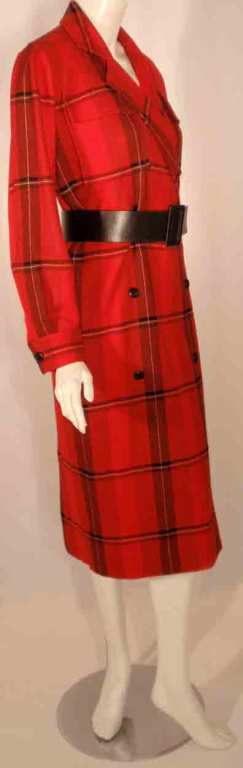 Courreges Red Plaid Wool Double Breasted Dress  In Good Condition For Sale In Los Angeles, CA