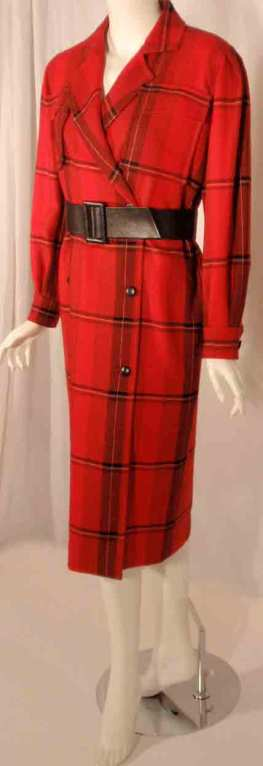 Women's Courreges Red Plaid Wool Double Breasted Dress  For Sale