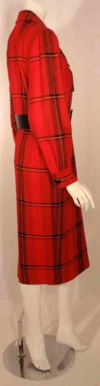 Courreges Red Plaid Wool Double Breasted Dress  For Sale 1
