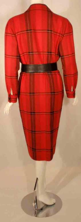 Courreges Red Plaid Wool Double Breasted Dress  For Sale 2