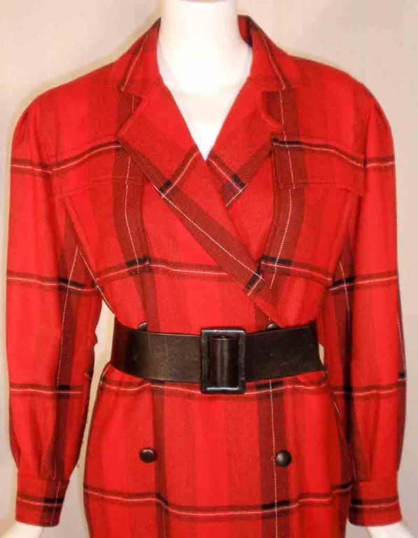 Courreges Red Plaid Wool Double Breasted Dress  For Sale 3