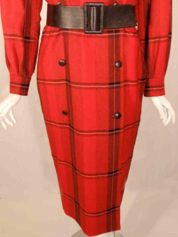 Courreges Red Plaid Wool Double Breasted Dress  For Sale 4