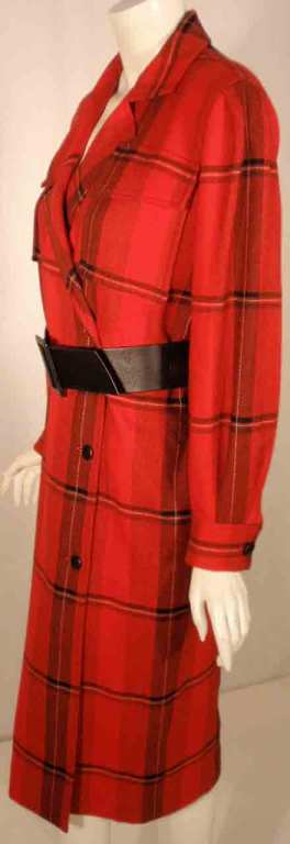 Courreges Red Plaid Wool Double Breasted Dress  For Sale 5