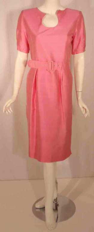 Courreges Pink Silk Dress w/Belt For Sale 5