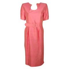 Courreges Pink Silk Dress w/Belt