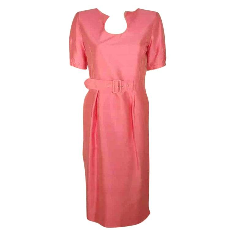 Courreges Pink Silk Dress w/Belt For Sale