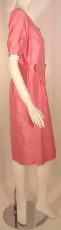 Courreges Pink Silk Dress w/Belt In Good Condition For Sale In Los Angeles, CA