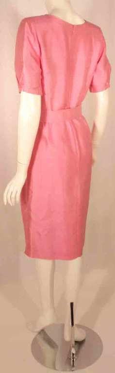 Courreges Pink Silk Dress w/Belt For Sale 1