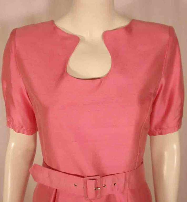 Courreges Pink Silk Dress w/Belt For Sale 3