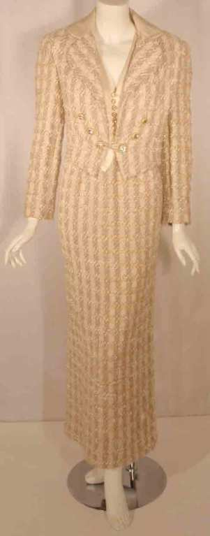 Bob Mackie 2pc Cream/Beige Silk and Tweed Jacket and Dress Set For Sale 5