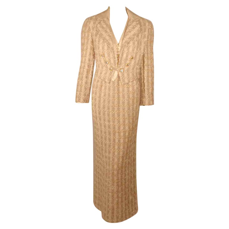 Bob Mackie 2pc Cream/Beige Silk and Tweed Jacket and Dress Set For Sale