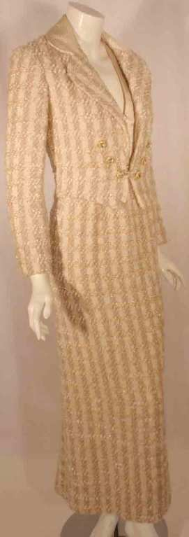 Bob Mackie 2pc Cream/Beige Silk and Tweed Jacket and Dress Set In Good Condition For Sale In Los Angeles, CA