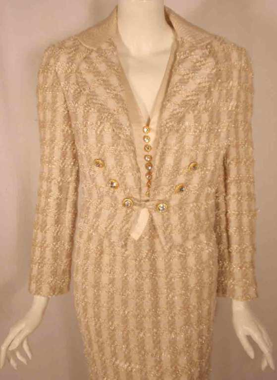 Women's Bob Mackie 2pc Cream/Beige Silk and Tweed Jacket and Dress Set For Sale