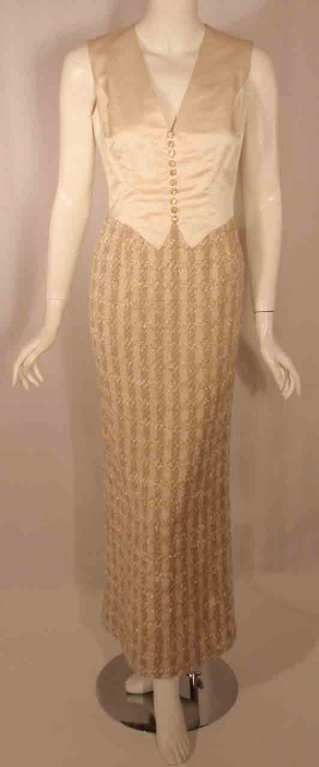 Bob Mackie 2pc Cream/Beige Silk and Tweed Jacket and Dress Set For Sale 2
