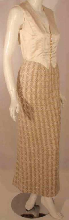 Bob Mackie 2pc Cream/Beige Silk and Tweed Jacket and Dress Set For Sale 3