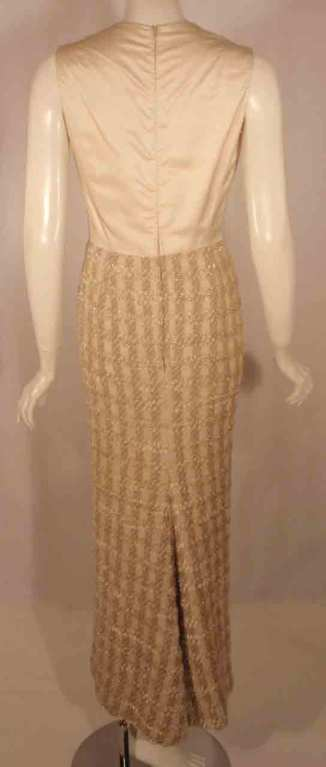 Bob Mackie 2pc Cream/Beige Silk and Tweed Jacket and Dress Set For Sale 4