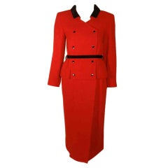 Courreges 2pc Red & Black Wool Jacket and Skirt Set with Belt