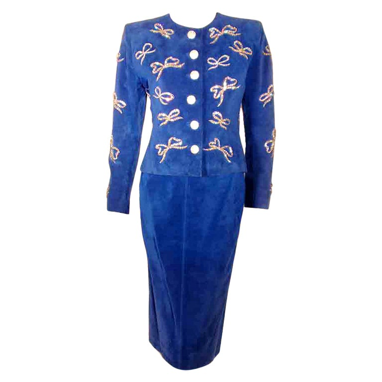 Yves Saint Laurent Rive Gauche 2pc Blue Suede & Rhinestone Jacket and Skirt Set