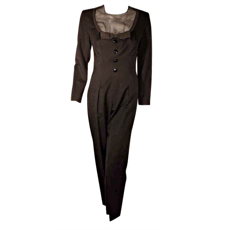 GIVENCHY Black Long Sleeve Wool Tuxedo Inspired Jumpsuit, Circa 1980's EU 38 US