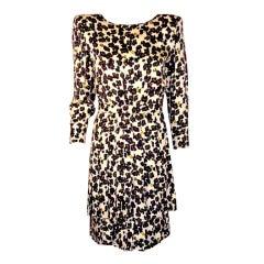 "Valentino ""Miss V"" Cream and Blue Silk Floral Print Day Dress"