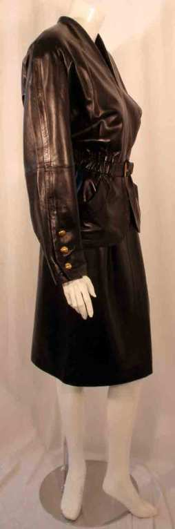 Yves Saint Laurent Fitted Black Lambskin Jacket and Skirt Ensemble In Excellent Condition For Sale In Los Angeles, CA