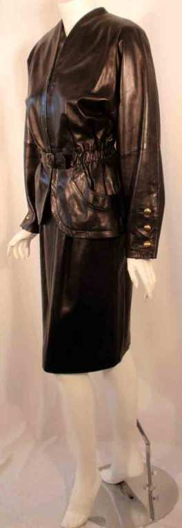 Women's Yves Saint Laurent Fitted Black Lambskin Jacket and Skirt Ensemble For Sale