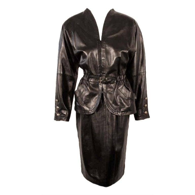 Yves Saint Laurent Fitted Black Lambskin Jacket and Skirt Ensemble