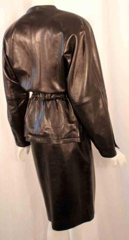 Yves Saint Laurent Fitted Black Lambskin Jacket and Skirt Ensemble For Sale 1
