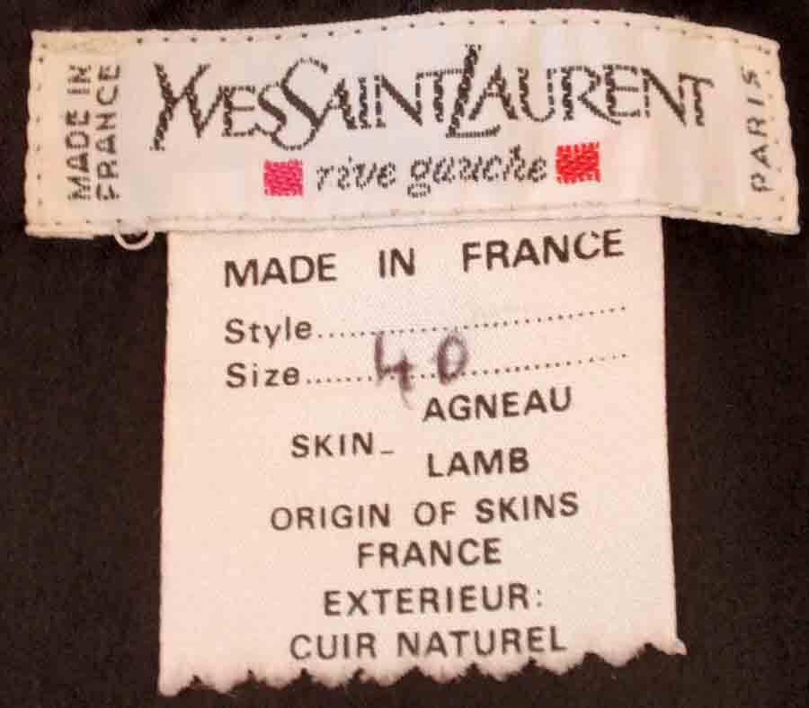 Yves Saint Laurent Fitted Black Lambskin Jacket and Skirt Ensemble For Sale 4