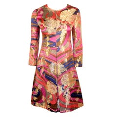 Galanos for Amelia Grey 1960s Lurex Brocade Satin Dress