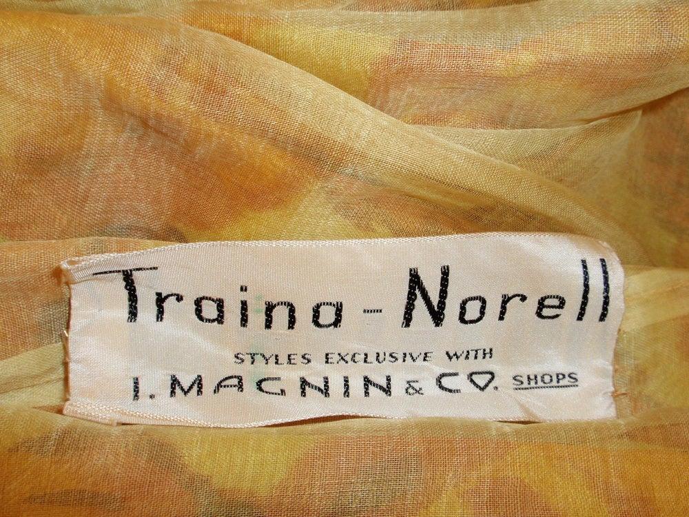Traina-Norell Vintage Floral Print Taffeta Cocktail Dress 2