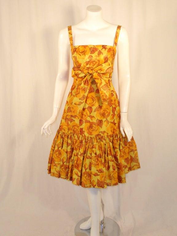 Traina-Norell Vintage Floral Print Taffeta Cocktail Dress 3