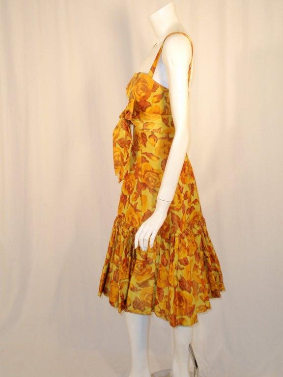 Traina-Norell Vintage Floral Print Taffeta Cocktail Dress 4