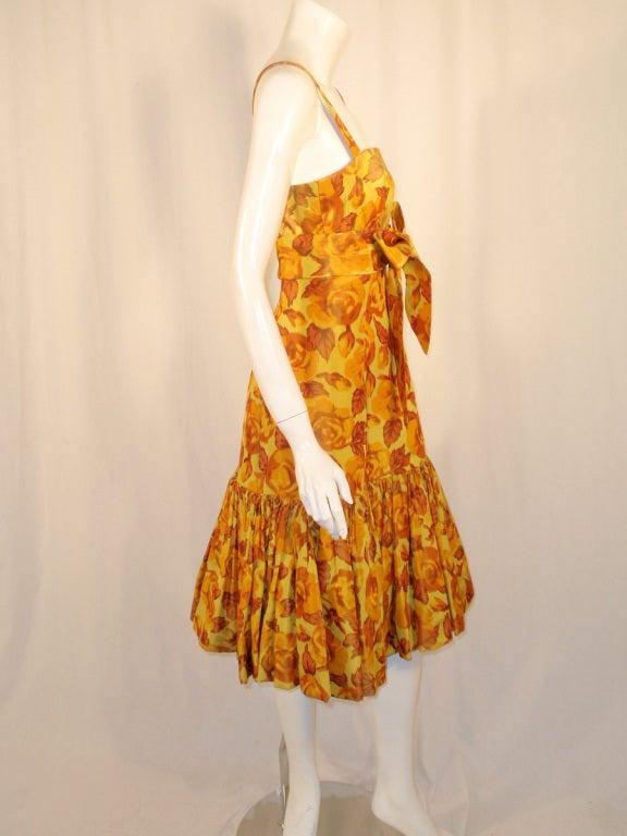 Traina-Norell Vintage Floral Print Taffeta Cocktail Dress 6