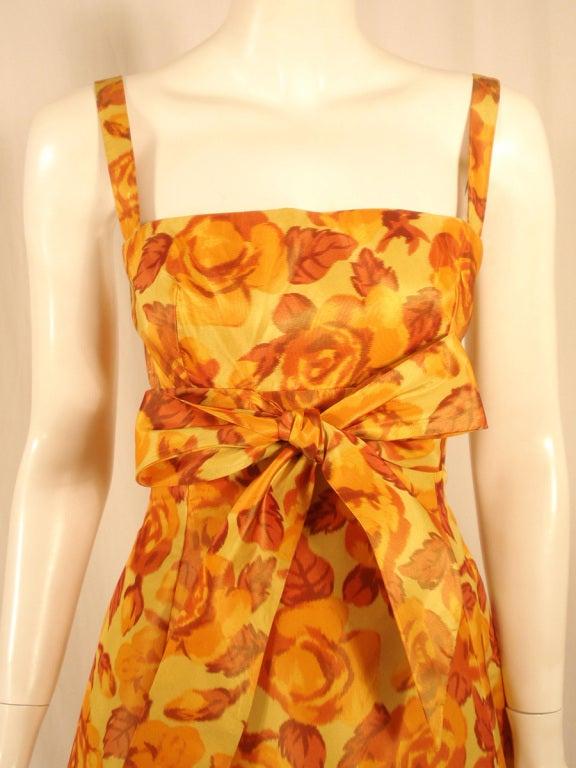 Traina-Norell Vintage Floral Print Taffeta Cocktail Dress 7