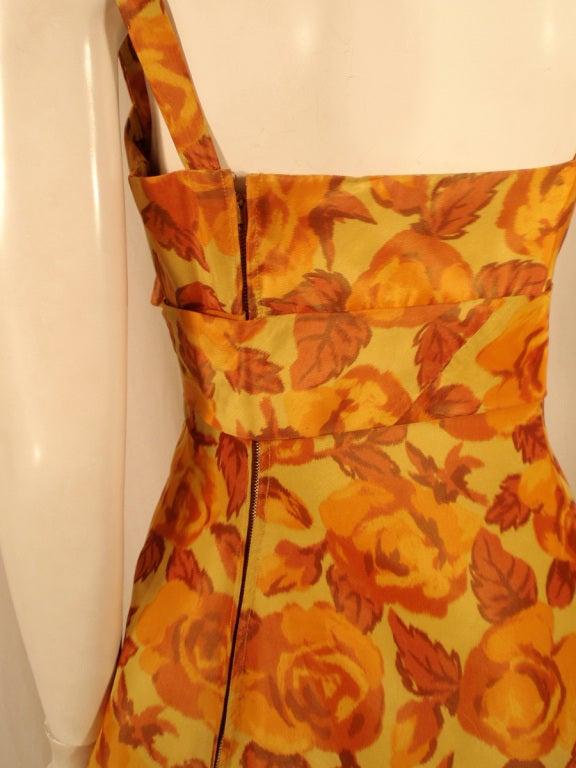 Traina-Norell Vintage Floral Print Taffeta Cocktail Dress 8