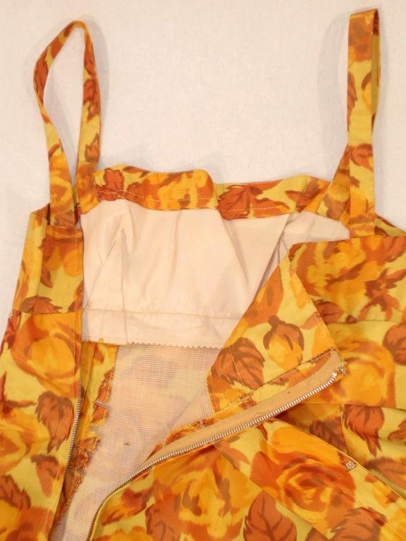 Traina-Norell Vintage Floral Print Taffeta Cocktail Dress 9