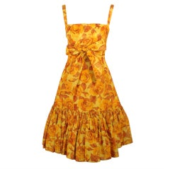 Traina-Norell Vintage Floral Print Taffeta Cocktail Dress