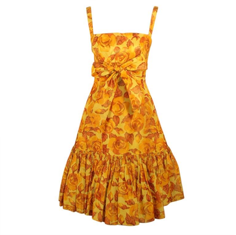 Traina-Norell Vintage Floral Print Taffeta Cocktail Dress 1