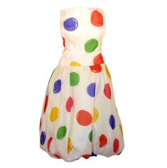 Scaasi attrib. Silk Organza Bubble Skirt Dress