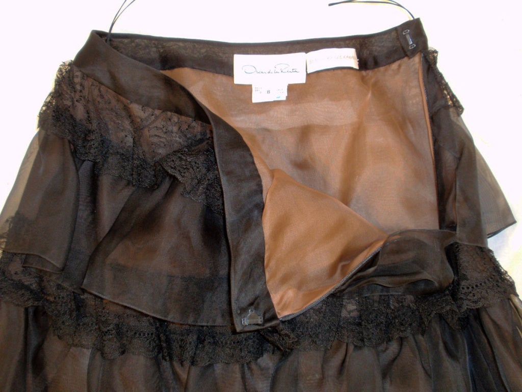 Oscar de la Renta Black Organza, Lace Ruffle Skirt & Wrap Top 2003 10
