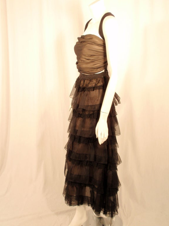 Oscar de la Renta Black Organza, Lace Ruffle Skirt & Wrap Top 2003 3
