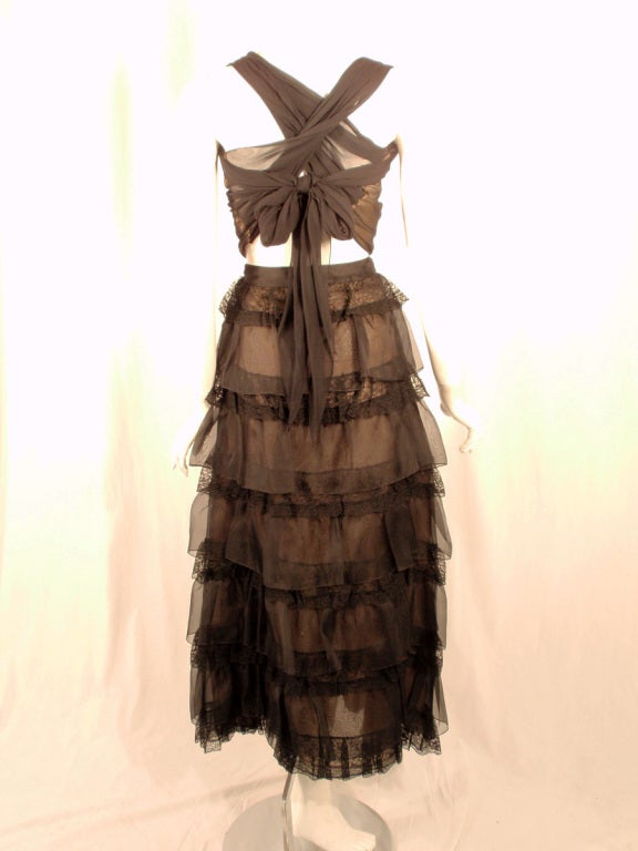 Oscar de la Renta Black Organza, Lace Ruffle Skirt & Wrap Top 2003 4